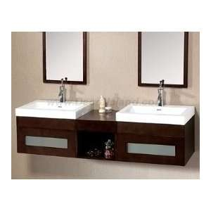 Vanity Set W/ Two Single Hole Ceramic Faucet Decks,Two Wood Framed