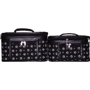 Case Two Piece Set   Black with White Paw Prints