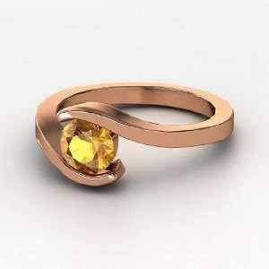 Ocean Ring, Round Citrine 14K Rose Gold Ring Jewelry