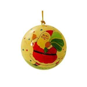 Hand Painted Paper Mache Christmas Ornament  Santa with