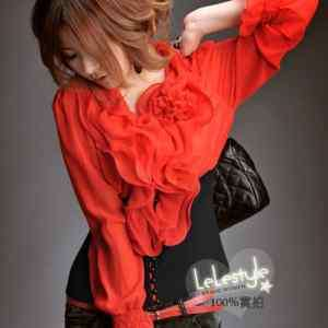 NWT SEXY Trendy Lovely Ruffle Collar Blouse/Shirt/Top