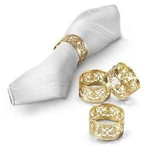 Kemp & Beatley Wide Gold Filigree Napkin Ring