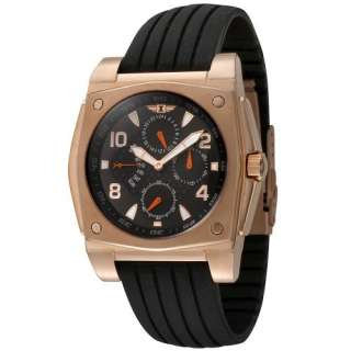 By Invicta Mens 41698 004 18k Rose Gold Plated Black Rubber 3 Eye
