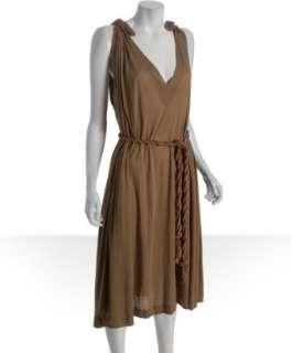 Chloe beige silk jersey gathered belted dress