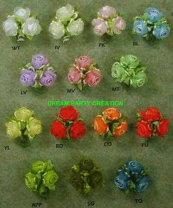 Bunches SATIN organza ROSES RAT TAIL trim CHOOSE From 15 COLORS