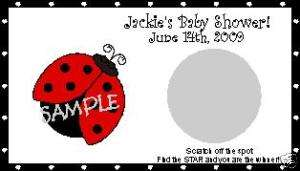 SCRATCH OFFS LITTLE LADYBUG BABY SHOWER GAME CARDS