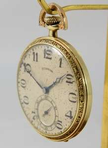 Art Deco Illinois 21J Pocket Watch 14K Gold Filled Case Ready to Use
