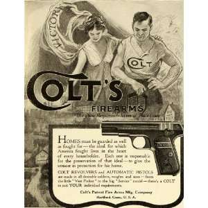 1919 Ad Colts Patent Fire Arms Couple Automatic Pistol Revolver Gun
