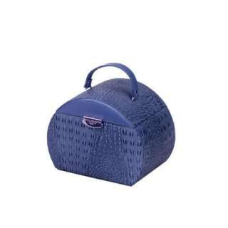 New Small Round Leather Jewelry Box Travel Case   Blue