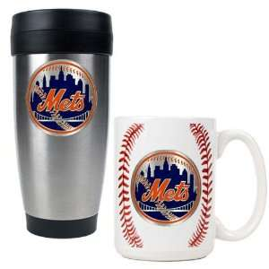 New York Mets MLB Stainless Steel Travel Tumbler & Game ball Ceramic