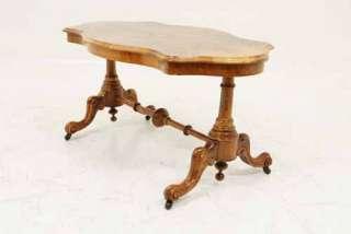 Antique Scottish Victorian Inlaid Walnut Sofa, Coffee, End Table