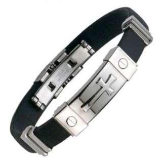 MENS Stainless Steel/Rubber Cross Bracelet Silver NEW