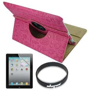 com Skque Cute Pretty Hot Pink 360 Rotating Leather Case + lcd Screen
