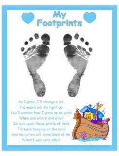 CHOOSE YOUR COLOR BABY NURSERY FOOTPRINT POEM GIFT