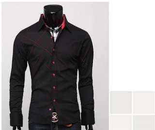 CC23 New Mens Slim Fit Patched Dress Shirts 2 Colors