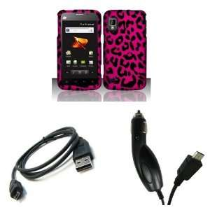 Boost Mobile) Premium Combo Pack   Pink and Black Leopard Spots Design