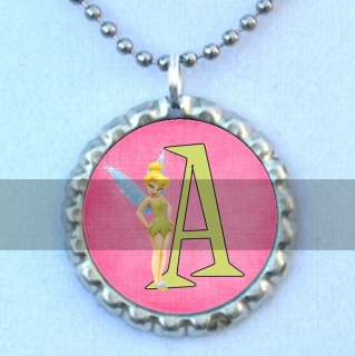 Funky Pink and Green Tinkerbell Initial Bottlecap Necklace