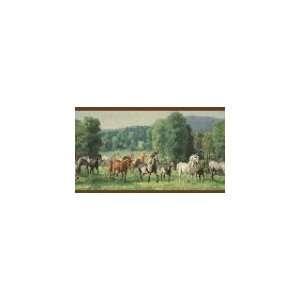 Horses Burgundy Wallpaper Border in For Men Only