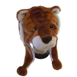 Plush Tiger Animal Hat   Tiger Hat with Ear Flaps and Poms
