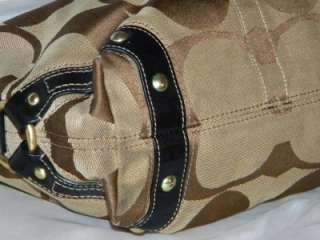 COACH CARLY Signature Khaki/Black Medium FAIR Hobo Bag 10619 Authentic