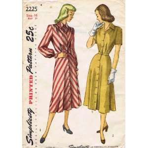 com Simplicity 2225 Vintage Sewing Pattern Womens Front Button Dress
