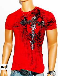 NWT MENS DREAMER RED DESIGNER T SHIRT MMA MUSCLE TATOO FOIL CROSS GOD