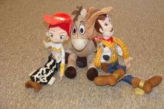 DISNEY Toy Story LARGE Bullseye Horse, Woody18 & Jessie 16 Plush