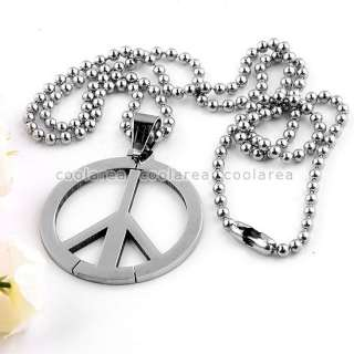 Steel Peace Sign Pendant Ball Chain Necklace 19 Punk Fashion