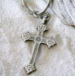 GOTHIC CHRISTIAN CROSS Pewter KEYCHAIN Key Ring FOB