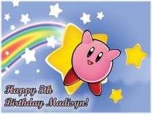 KIRBY NINTENDO Edible CAKE Icing Image Topper Birthday