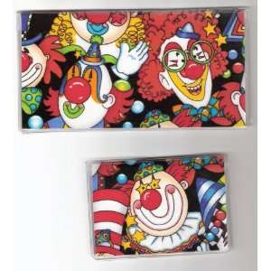 Checkbook Cover Debit Set Clown Faces