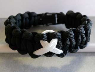 LUNG CANCER AWARENESS~ PARACORD BRACELET & KEYCHAIN ((WHITE RIBBON