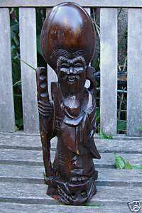 ANTIQUE BLACK FOREST ART WOOD CARVING ASIAN PRIEST