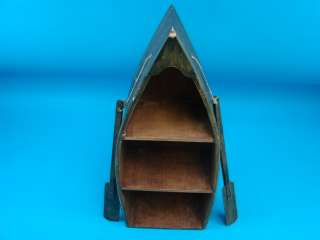 Fishing Row Boat Shelf Desk Display w/Oars Cabin Beach House Furniture