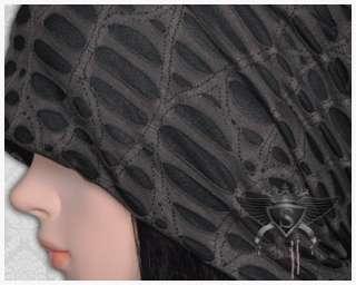 SH Black Gray Tear Holes Gothic Lady Beanie Hat Skull Cap Hood New Ski