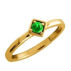 Round Green Tsavorite 14k Yellow Gold Ring Jewelry