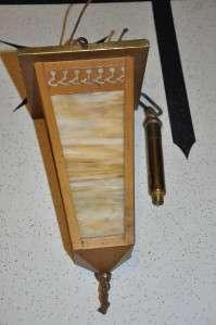 Vtg Slag Glass Hanging Lamp Arts & Crafts Era NICE