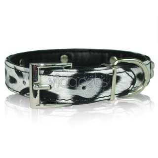 18 22 Black&White Leather Dog collar Bones Large