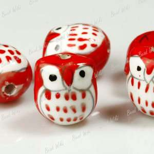 10pcs Red Animal Owl Charm Ceramic Porcelain Bead PB001