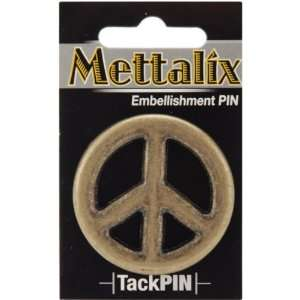 Mettalix Tack Pins 1/Pkg Peace Sign/Brass