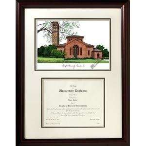 Hampton University Graduate Framed Lithograph w/ Diploma Opening
