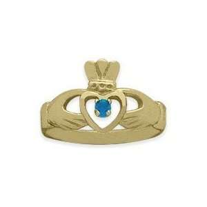 Ladies 10 Karat Yellow Gold Blue Topaz Claddagh Ring   5.25 Jewelry