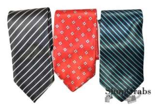 NEW Mens Wholesale Lot of 6 Ties Black Red Navy Blue Grey Stripe Silk