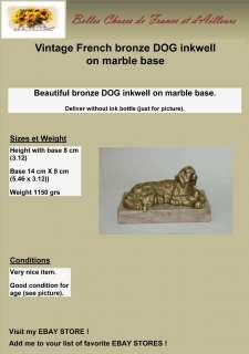 Vintage french bronze DOG inkwell on marble base