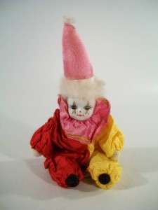 Vintage Stuffed Clown Doll Porcelain Head