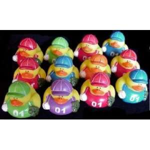 One Dozen (12) Assorted Colors ~ Baseball Rubber Ducks Toys & Games