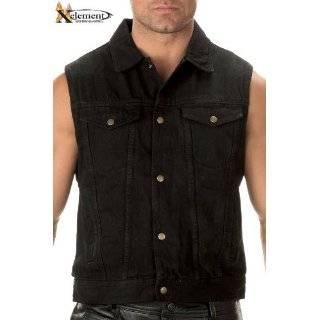 Xelement Mens Black Denim Motorcycle Vest   Size  Medium