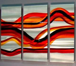 Modern Abstract Red Orange Silver Aluminum Metal Wall Art Sculpture