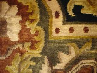Brown Beige Plush Wool Hand Knotted Neoclassical Transitional Area Rug