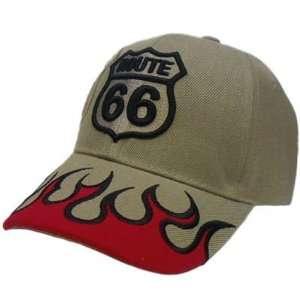 Hat Cap Historic Route 66 Highway America Khaki Tan Red Black Flames